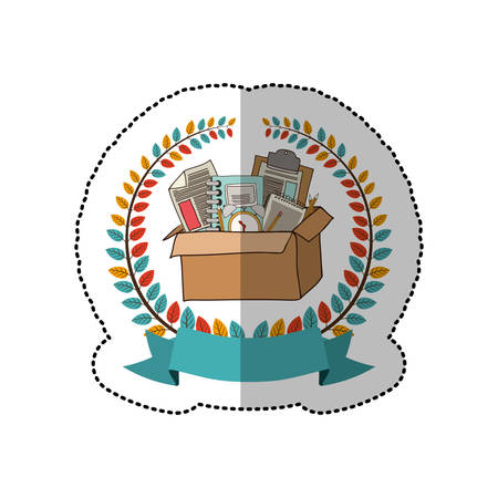 secondary: middle shadow sticker with colorful olive crown with ribbon and box with school supplies vector illustration