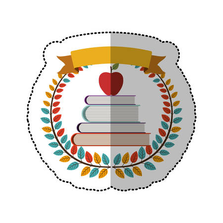 middle shadow sticker with colorful olive crown with ribbon and school books with apple vector illustration