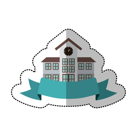 middle shadow sticker with colorful high school structure with ribbon vector illustration Illustration