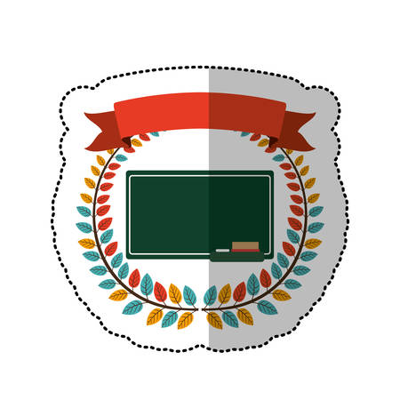secondary: middle shadow sticker with colorful olive crown with ribbon and school slate vector illustration
