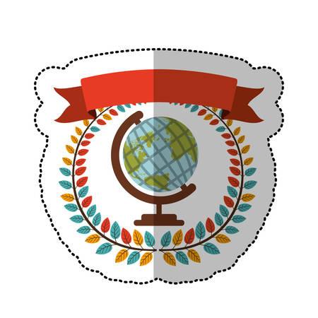 Etiqueta engomada de media sombra con colorida corona de olivo con cinta y tierra ilustración de vector de mapa mundial Vectores