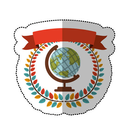 middle shadow sticker with colorful olive crown with ribbon and earth world map vector illustration