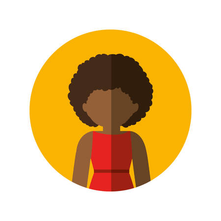 circle with half body afro woman in dress with curly hair and middle shadow vector illustration