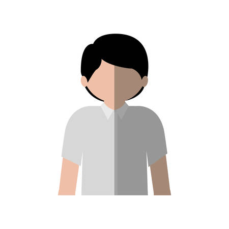 without clothes: half body man with shirt and middle shadow vector illustration Illustration