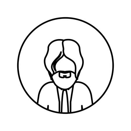 monochrome contour in circle with half body man with beard and tie vector illustration
