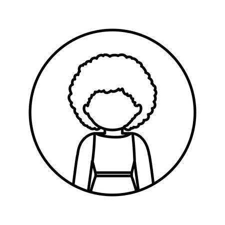 without clothes: monochrome contour in circle with half body afro woman in dress with curly hair vector illustration