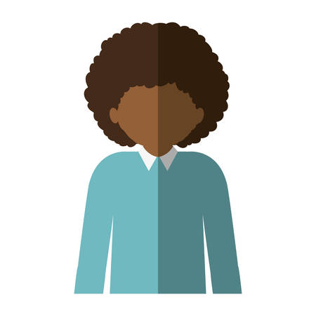 without clothes: half body afro man with curly hair and middle shadow vector illustration