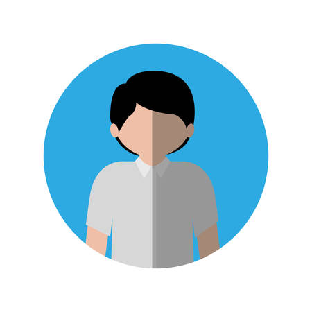 circle with half body man with shirt and middle shadow vector illustration