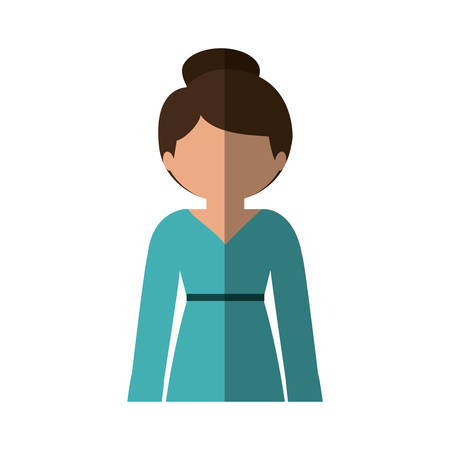 collected: half body woman in dress with collected hair and middle shadow vector illustration Illustration