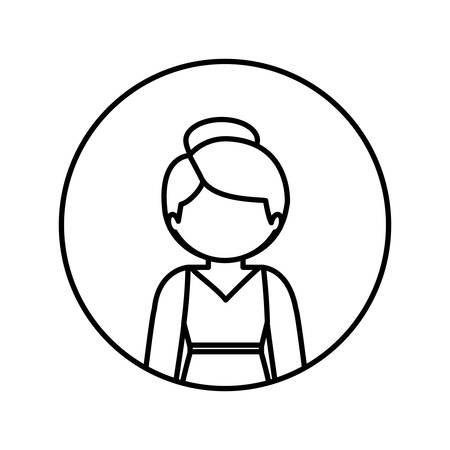 collected: monochrome contour in circle with half body woman in dress with collected hair vector illustration