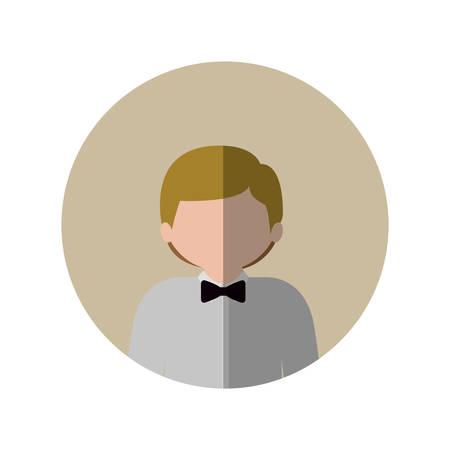 circle with half body man with blonde hair and bow tie and middle shadow vector illustration Illustration