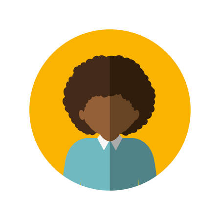 circle with half body afro man with curly hair and middle shadow vector illustration