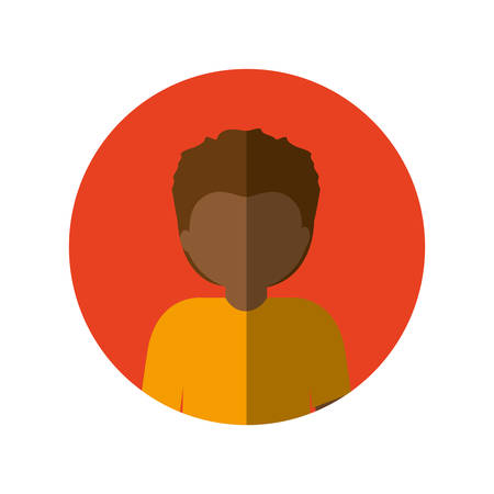 circle with half body afro man with short hair and middle shadow vector illustration
