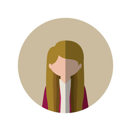 without clothes: circle with half body woman with long hair blonde and middle shadow vector illustration