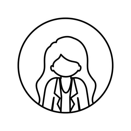 without clothes: monochrome contour in circle with half body afro woman with jacket and long hair vector illustration