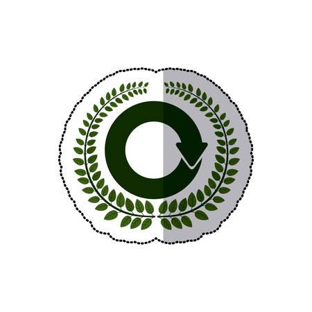 reloaded: sticker arch of leaves with reloaded symbol vector illustration Illustration
