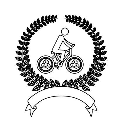 natural arch: silhouette ornament of leaves with bicycle of recycling symbol vector illustration Illustration