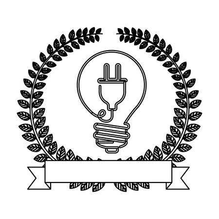 enchufe de luz: silhouette ornament of leaves with light bulb with plug shape vector illustration Vectores