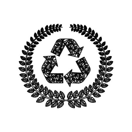 silhouette ornament leaves with recycled symbol vector illustration