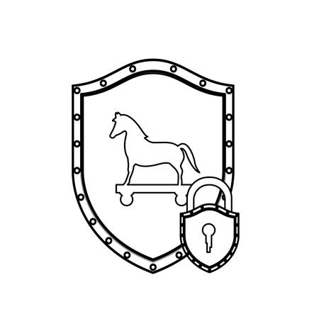 cavallo di troia: monochrome silhouette with shield with trojan horse and padlock vector illustration Vettoriali