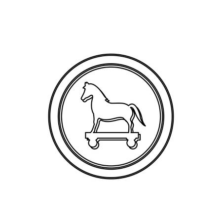 cavallo di troia: monochrome contour in circle with trojan horse vector illustration Vettoriali