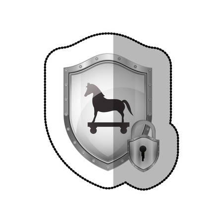 cavallo di troia: middle shadow sticker of shield with trojan horse and padlock vector illustration Vettoriali