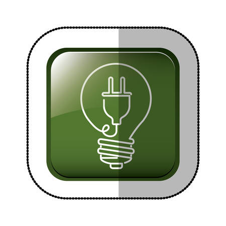 green power: middle shadow sticker of square green with light bulb with filament power cord vector illustration