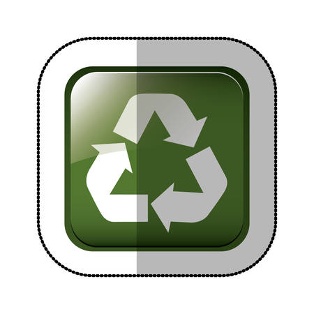 middle shadow sticker of square green with recycling symbol withe vector illustration