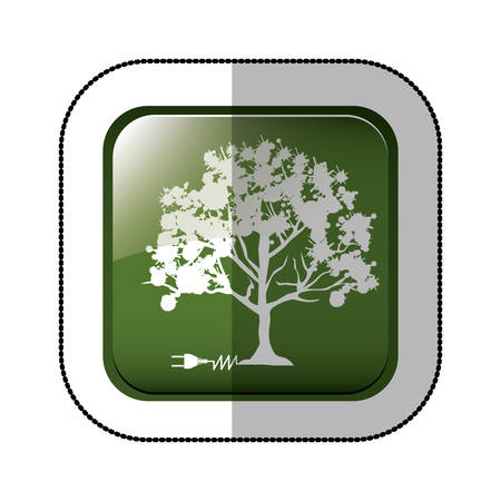 green power: middle shadow sticker of square green with tree with power cord vector illustration