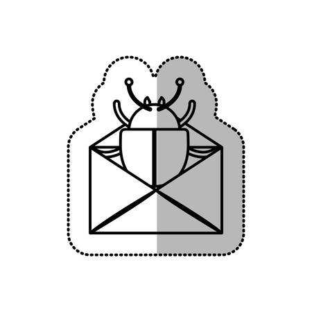 monochrome middle shadow sticker of mail virus beetle vector illustration Vettoriali