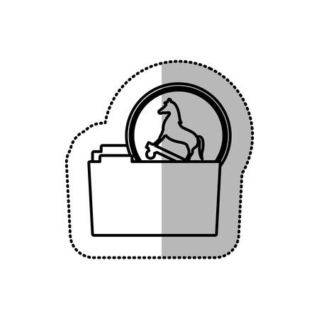 cavallo di troia: monochrome middle shadow sticker of folder virus trojan horse vector illustration