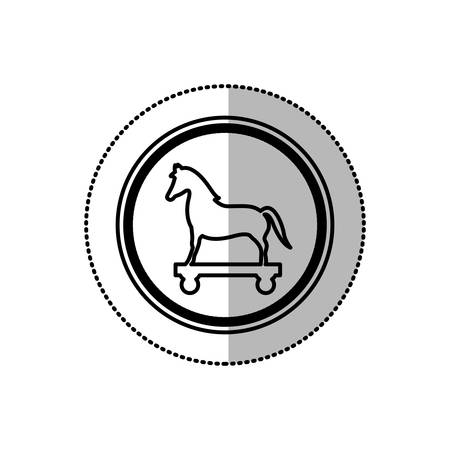 cavallo di troia: monochrome middle shadow sticker of trojan horse in circle vector illustration Vettoriali
