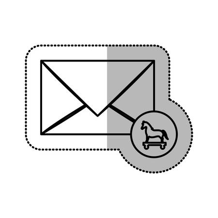 cavallo di troia: monochrome middle shadow sticker of mail virus trojan horse vector illustration