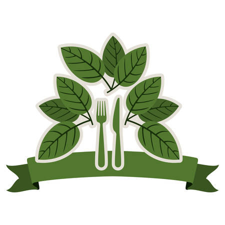 tablespoon: silhouette with leaves and silverware and ribbon vector illustration