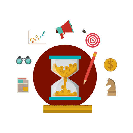 financial market: Coins inside hourglass and social media icon set. Money financial item commerce market and buy theme. Isolated design. Vector illustration Illustration