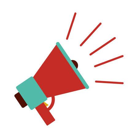 El icono del megáfono. altavoz amplificador megáfono y anunciar el tema. diseño aislado. ilustración vectorial Foto de archivo - 69827426