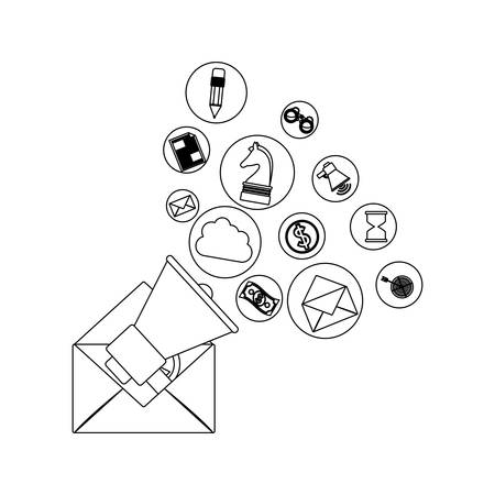Envelope and social media icon set. Email mail message letter and marketing theme. Isolated design. Vector illustration