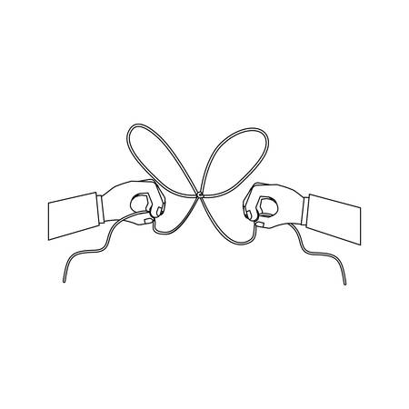 Hand and bowtie rope icon. Cord string cable and knot theme. Isolated design. Vector illustration Illustration