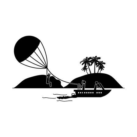 Parasailing extreme sport icon vector illustration graphic design