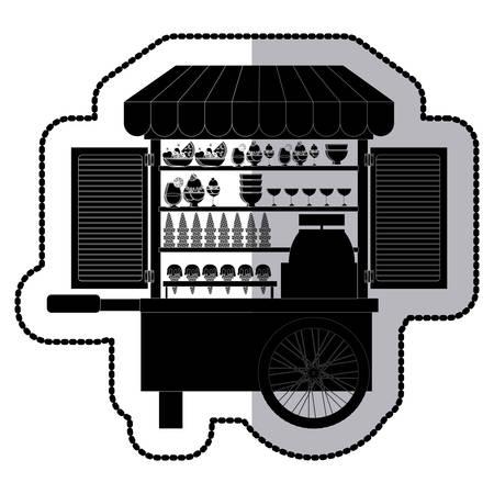 carretto gelati: Ice cream cart icon vector illustration graphic design Vettoriali