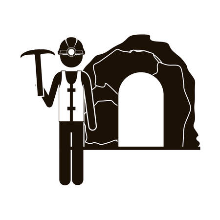 black silhouette miner with pickaxe vector illustration Illustration