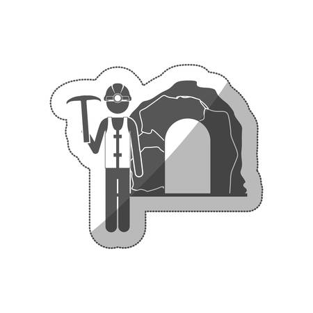 excavation: sticker silhouette miner with pickaxe vector illustration