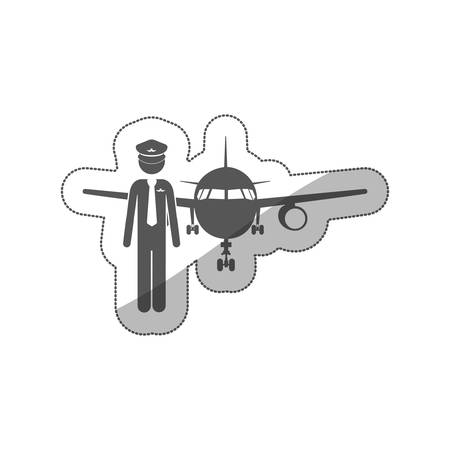 sticker silhouette pilot with aeroplane vector illustration