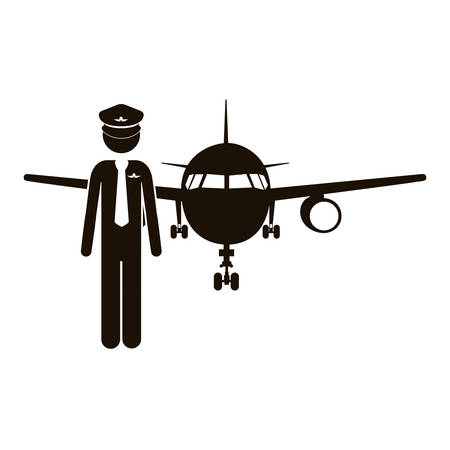 black silhouette pilot with aeroplane vector illustration