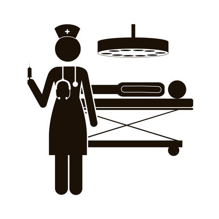 black silhouette nurse in operations room with pacient vector illustration