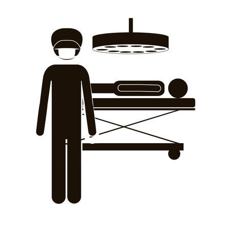 black silhouette surgeon in quirophan with pacient vector illustration