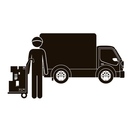 black silhouette logistic assistant with shipping truck vector illustration