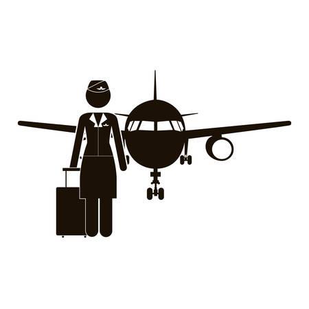 black silhouette flight attendant and aeroplane vector illustration
