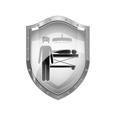 metallic shield of surgeon in quirophan with pacient vector illustration Illustration