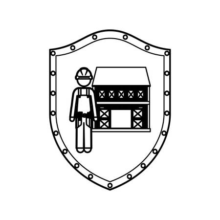 window shade: contour shield with builder with helmet and house vector illustration